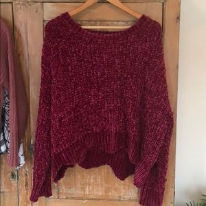 Sweaters - Berry colored cropped chenille sweater